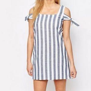 BooHoo Striped Off The Shoulder Shift Dress